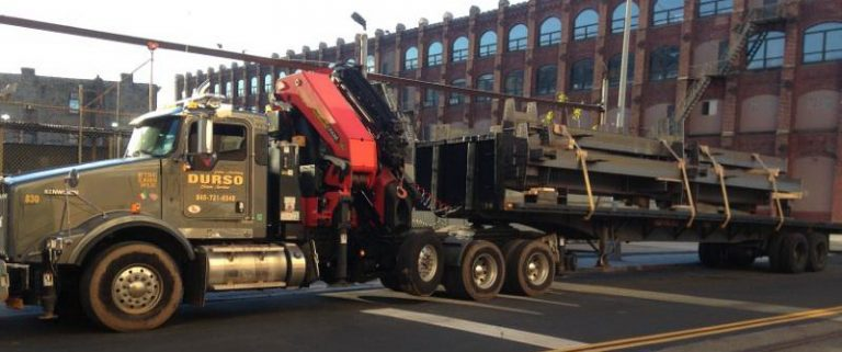 durso flatbed truck with steel load